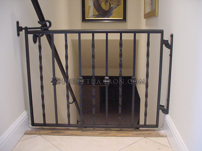 Baby Gate For Interior Stairs Alternating Twists And Nodes Wrought Iron